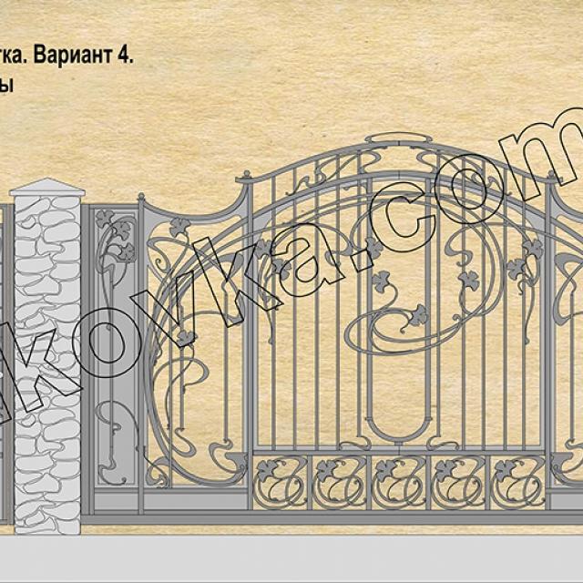 Project of forged sliding gates Romankov, Kiev region