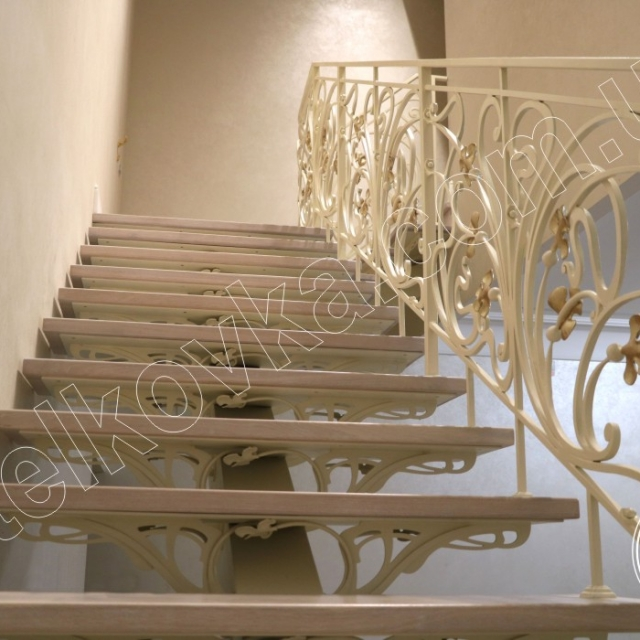 Risers of a wrought-iron staircase