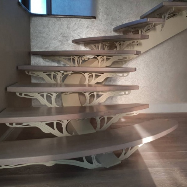 Metal staircase in the house