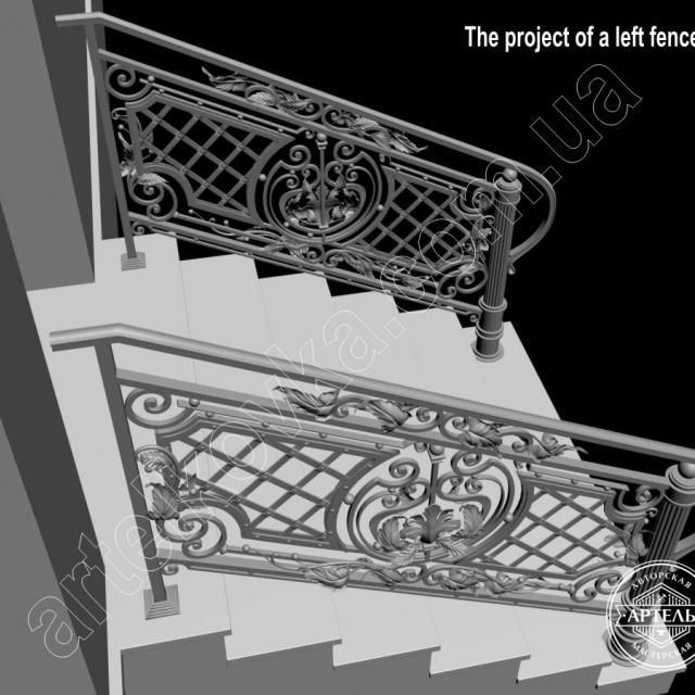 3d model of stair railings