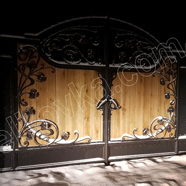 Wrought iron gates with wood