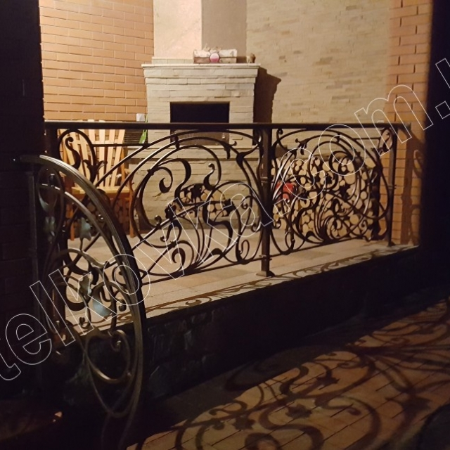 Wrought iron railing on the terrace