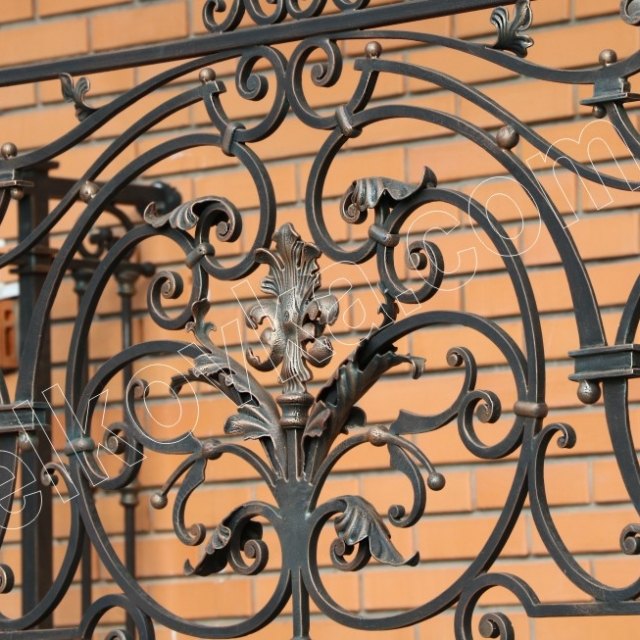 Wrought iron fence section