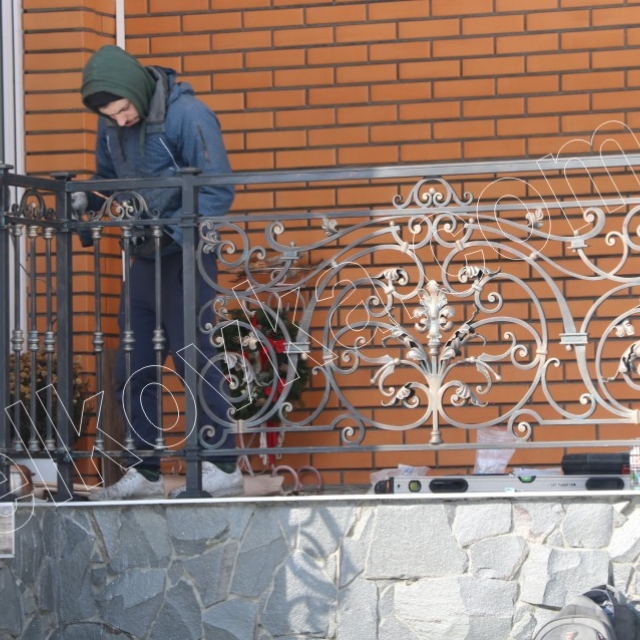 Metal railing on the terrace