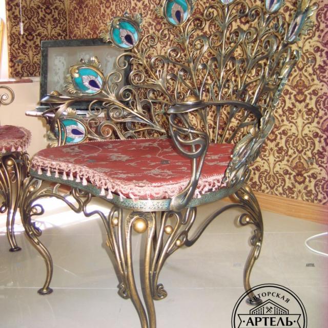 Wrought iron armchair Peacock