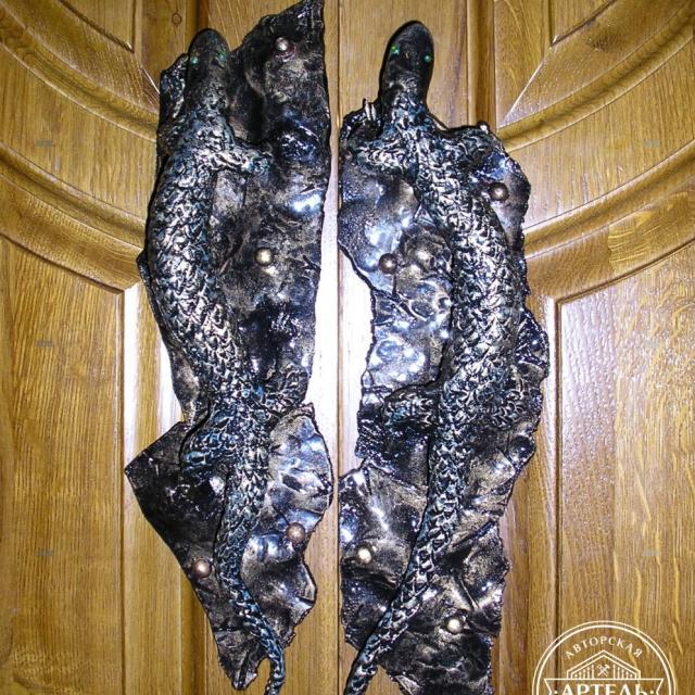 Lizard wrought iron doorknobs