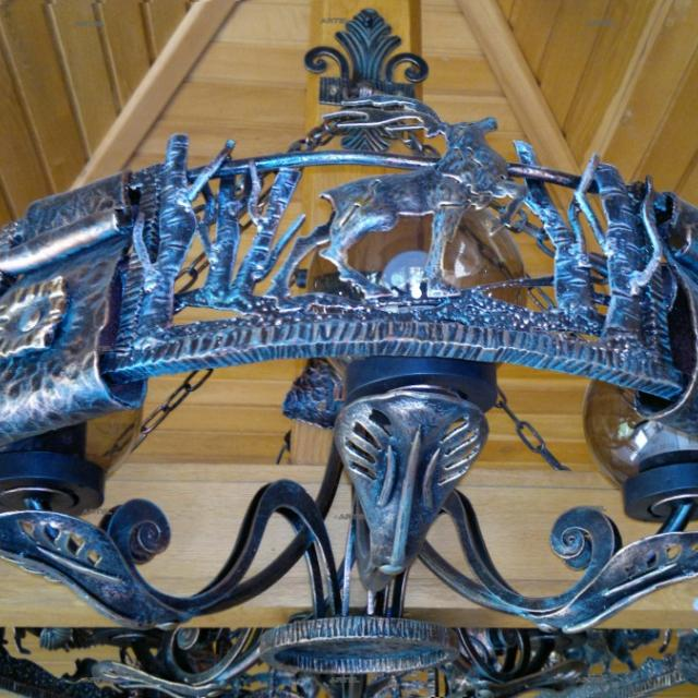 Wrought iron chandelier (detail)