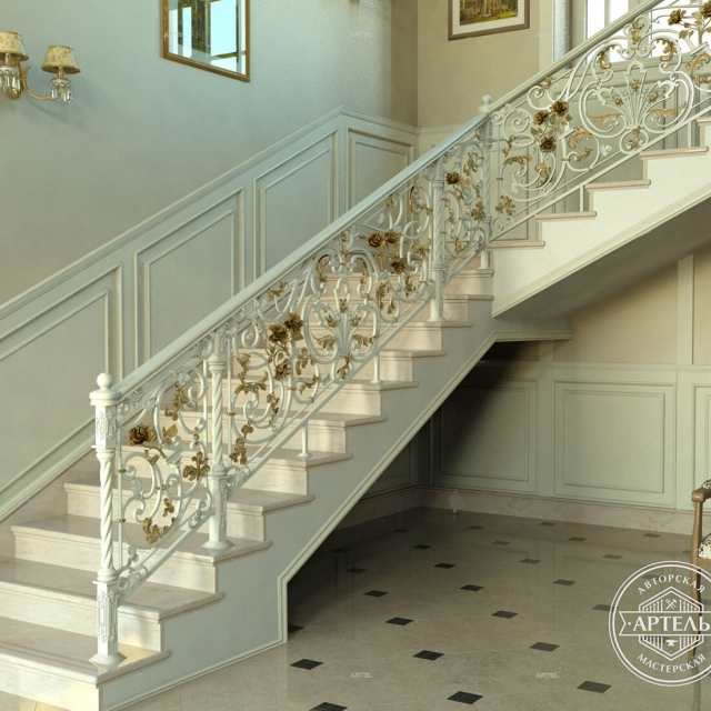 Classic white staircase