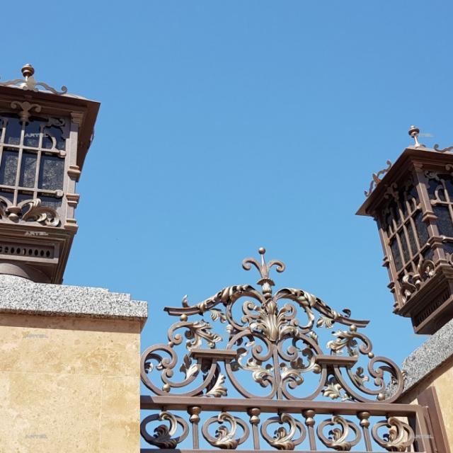 Forged lantern on a column