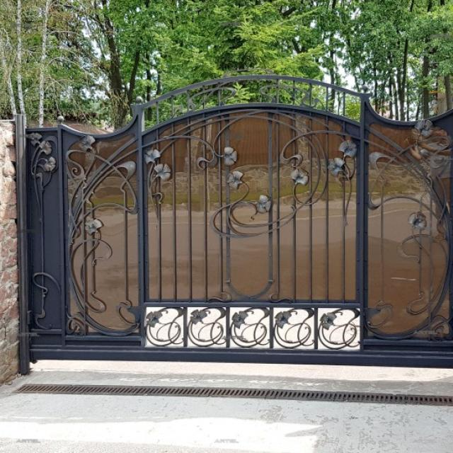 Sliding wrought iron gates