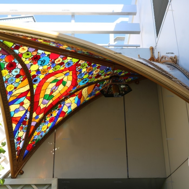 Canopy with stained glass
