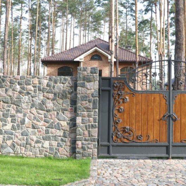 Forged gates with wood