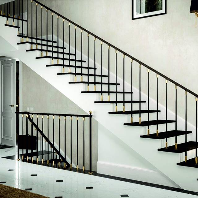 Brass and steel staircase