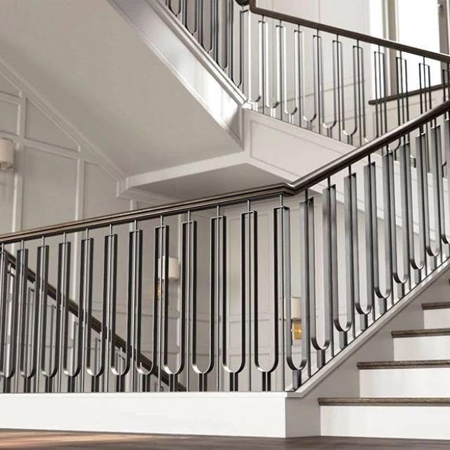 Metal railings in a modern interior