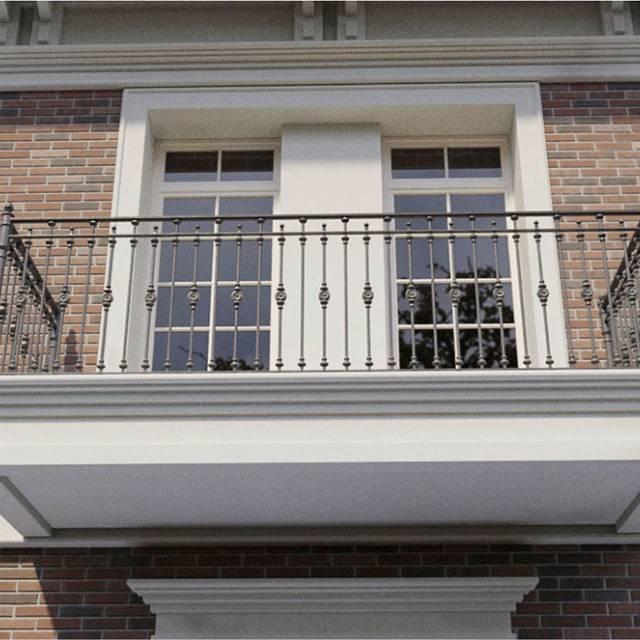Modern railings on the balcony of the house