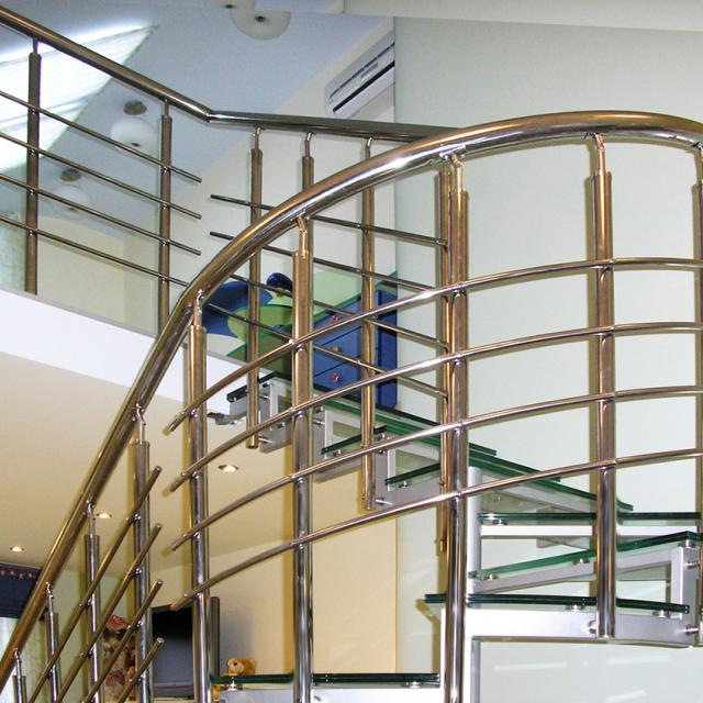 Spiral staircase with stainless steel railing